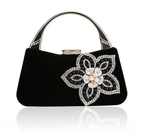 Damen Taschen Clutch Kleid Abend Party Hochzeit Cross-Body Cord Schulter Handtasche Multi-Color black