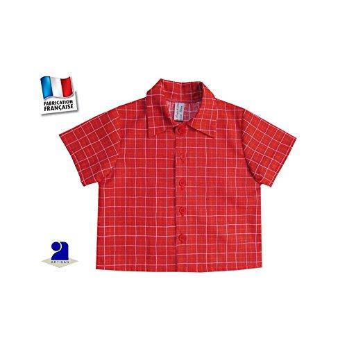 Poussin bleu - Chemise bébé garçon, manches courtes, rouge à carreaux  Couleur - Rouge d5e9175f24f6