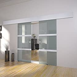 UBAYMAX Puerta corredera doble de cristal, Puerta Corrediza Moderna Vidrio Aluminio Corredera Deslizante, Deslizante Riel Puertas Kit de Accesorios para dormitorio, balcón, cocina