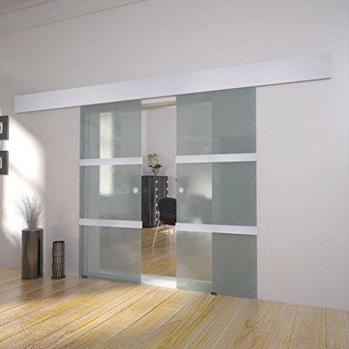 Porta Scorrevole Doppia Premium Scorrevole, 205 x 150 cm XXL Porta Scorrevole in Vetro Doppia Porta con Profili ALU di Alta Qualità