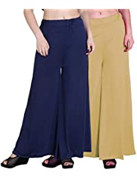 OOPLI :Palazzo Pack-2 Elastic Waist Wide Leg Flared Soft Malai Lycra Palazzo Pants For Women's-Free Size