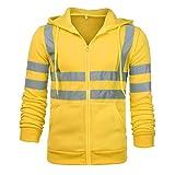 Honestyi Mens Road Work Hohe SichtbarkeitPullover Langarm Kapuzenpulli Tops Bluse(Gelb,Schwarz,Orange,Grün,M/L/XL/2XL/3XL)