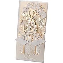 Inviti di nozze set con champagne oro laser Cut Cards inviti per feste di fidanzamento matrimonio nuziale doccia Castle (20pz)
