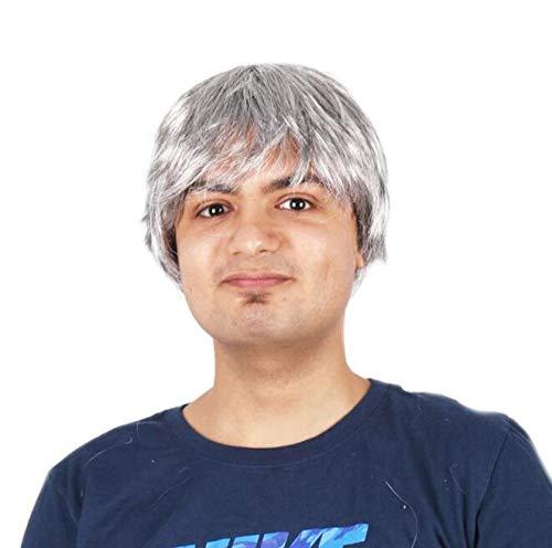 Xthy parrucca da uomo capelli corti scompigliati e arruffati, giovanile, alla moda parrucca maschio cos anime festival cosplay carnevale moda bianco