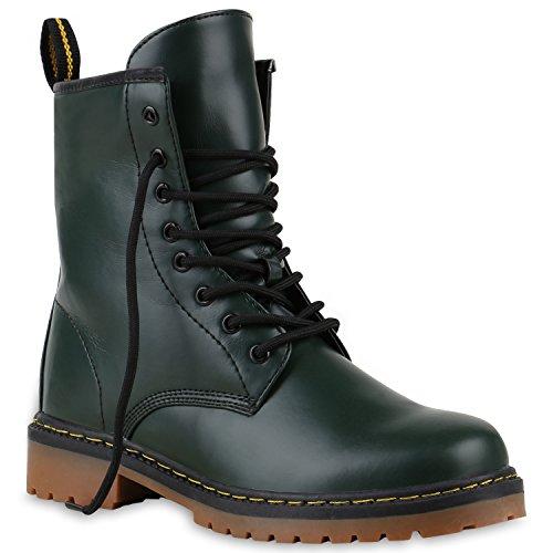 Derbe Damen Stiefeletten Worker Boots Profilsohle Camouflage Stiefel Schnür Animal Print Schuhe 126902 Dunkelgrün 36 Flandell
