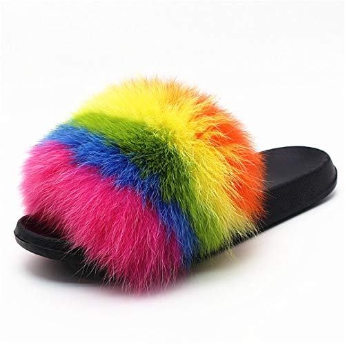 HULIMAOSER Pelzigen Folien Sommer Bunte gestreifte Mode pelzigen Haar Paar Hausschuhe Rainbow After Rain 38.5 - Frauen Erde-schuh-sandalen