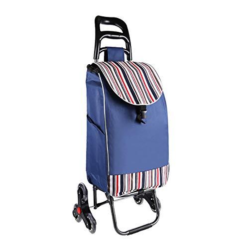 Einkaufstrolleys Dienstprogramm Falten Einkaufswagen Dolly Treppen steigen Schieben Wagen Tasche 6-Rollen Haushalt Einkaufswagen (Farbe : Navy blau)