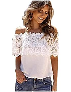 Camisas Mujer, ❤️Xinan Blusa de Tirantes Casuales de Mujer Sexy Fuera del Hombro Camisa de Gasa de Encaje con...
