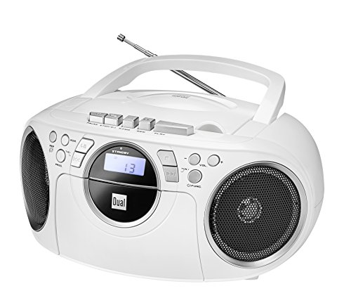 Kassettenradio mit CD • UKW-Radio • Boombox • CD-Player • Stereo Lautsprecher • AUX-Eingang • Netz- / Batteriebetrieb • Tragbar • Weiß • Dual P 70
