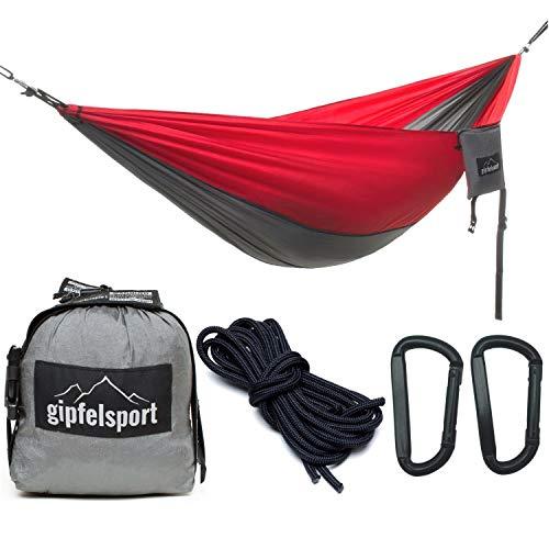 gipfelsport Hängematte - Outdoor Reisehängematte mit Aufhängeset, 2xSeile, grau/rot