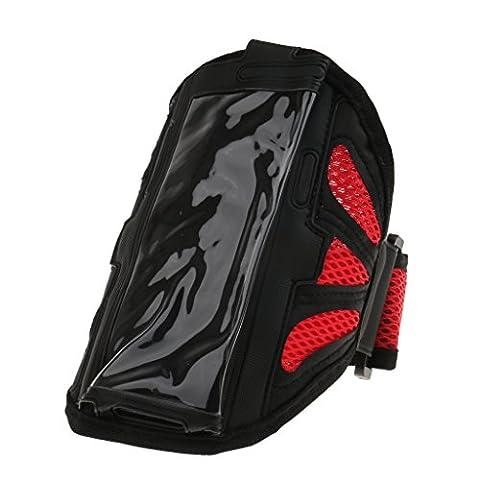 Imperméable Brassard Sac Pochette de Téléphone Portable Sport Running Armband Case Cover - rouge, M