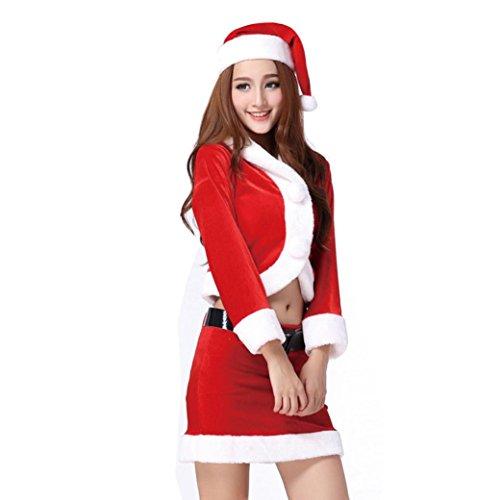 Vovotrade Signore di Santa costume delle donne del partito di Natale Fancy Dress Two Parts