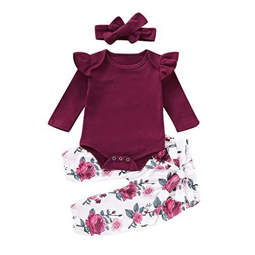 REALIKE Kinder Baby Mädchen 1 PC Jumpsuit + 1 PC Hosen + 1 PC Headbands Mode Einfarbig Rüschen Langarm-Body im Retro Blumendruck Lange Pants Herbst Winter 3 Set Kleidung
