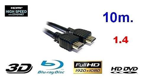 10m GiXa Technology High Speed HDMI Kabel 10 Meter mit Ethernet High Definition Cable Kabel black / Schwarz Full HD FULLHD Auflösung 1080p HDMI zu HDMI Kabel 19pol. 1.3 1.3a 1.3b 24K Vergoldet geeignet für Xbox 360 / Playstation 3 / Beamer / DVB Receiver / TFT Monitor / HD-Ready / FULL HD Fernseher / Blu-Ray / DVD / HD-DVD / PS3 / HDTV (Das Kabel überträgt Garantiert Verlustfreie Daten / Kristallbild) Playstation3 / Digital TV / Fernsehen / BluRay / Spielkonsolen / Konsolen / PC / Computer / Komputer / Notebook / Netbook / Laptop