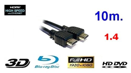 10m GiXa Technology High Speed HDMI Kabel 10 Meter mit Ethernet High Definition Cable Kabel black / Schwarz Full HD FULLHD Auflösung 1080p HDMI zu HDMI Kabel 19pol. 1.3 1.3a 1.3b 24K Vergoldet geeignet für Xbox 360 / Playstation 3 / Beamer / DVB Receiver / TFT Monitor / HD-Ready / FULL HD Fernseher / Blu-Ray / DVD / HD-DVD / PS3 / HDTV (Das Kabel überträgt Garantiert Verlustfreie Daten / Kristallbild) Playstation3 / Digital TV / Fernsehen / BluRay / Spielkonsolen / Konsolen / PC / Computer / Komputer / Notebook / Netbook / Laptop (1.3 High-definition-kabel)