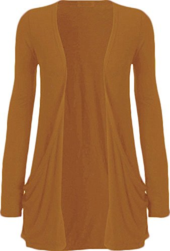 WearAll Neu Damen Langarm Freund Boyfriend style Strickjacke Cardigan Top - Senf - 36-38