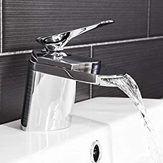 Architeckt Modern Bathroom Waterfall Mono Basin Sink Mixer Tap Brass Single Lever Chrome