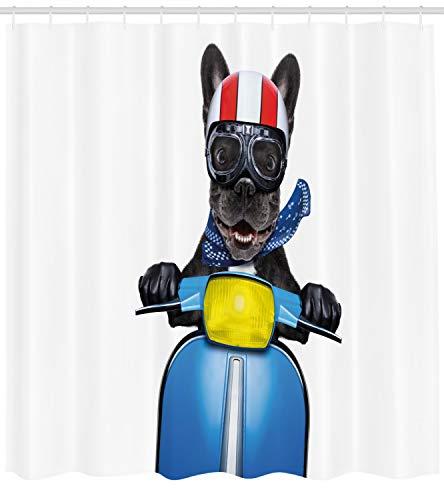 ABAKUHAUS Autista Dog Tenda da Doccia, Bulldog su Uno Scooter, Stampa Personalızzato, 175 x 240 cm, Charcoal Grey Cobalt Blue
