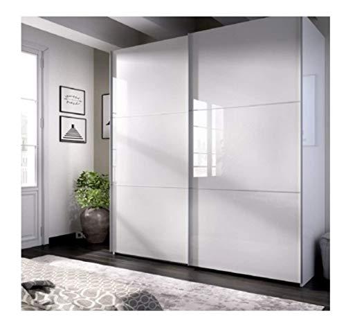 DECORNATUR-Armario DE Puertas CORREDERAS Modelo Slide Color Blanco Brillo-Medidas:Ancho: 120 cm- Alto:...
