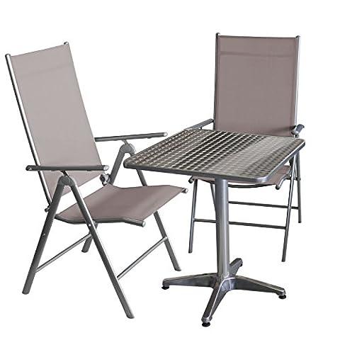 Balkonmöbel-Set Bistrotisch, Aluminium, Tischplatte in Schleifoptik, 60x60cm, klappbar + 2x Hochlehner, klappbar, Metallgestell Silbergrau, Textilenbespannung Taupe, Rückenlehne 7-fach verstellbar