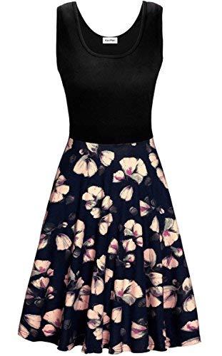 (KorMei Damen Ärmelloses Beiläufiges Strandkleid Sommerkleid Tank Kleid Ausgestelltes Trägerkleid Blau Blume L)