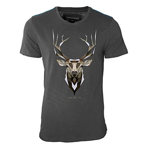 Sinus 74 Design -Hirsch Geweih Erdfarben - Herren Shirt in Graphite mit Blauer Schulternaht - James & Nicholson Premium Shirt - Design Paul Sinus Herren Hirsch