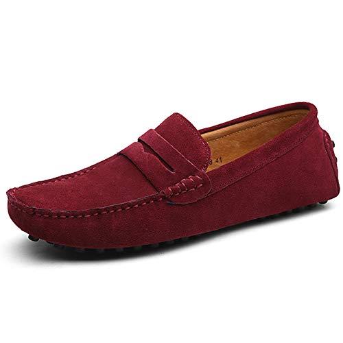 Mocassini Scarpe da Uomo Slip On Business Loafers Buona qualità Scamosciato Scarpe da Guida con 38-49 EU,Red,39