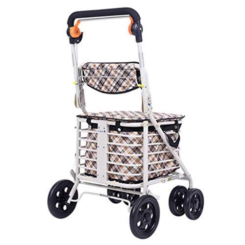 Rollatoren Ältere Walker Four Wheeler Können Sitzen Klapp Old Cart Kaufen Sie Lebensmittel Zu Fuß Übung Car Help Driving Portable Old Shopping Cart (Color : Weiß, Size : 48 * 58 * 92cm)