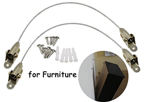 MotGlobal Adjustable Metal Anti-Tip Furniture Straps Provide Safety for Kids and Furniture (A Pack of 2, Silver)