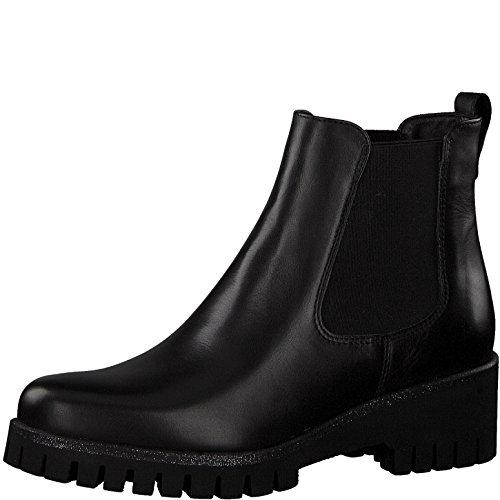 Tamaris Damen Chelsea Boots 25461-21,Frauen Stiefel,Halbstiefel,Stiefelette,Bootie,Schlupfstiefel,hoch,Blockabsatz 4.5cm,Black Leather,EU 39