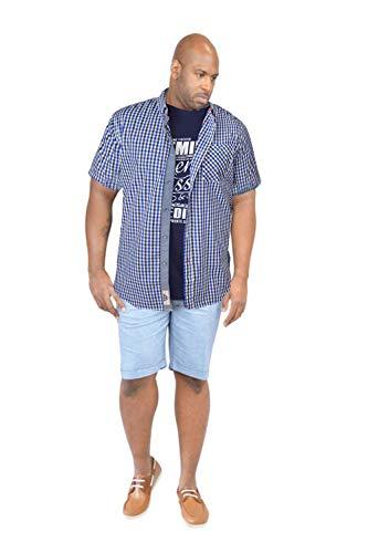 Duke London Herren Blusen Freizeit-Hemd, Kariert blau blau Einheitsgröße Blau