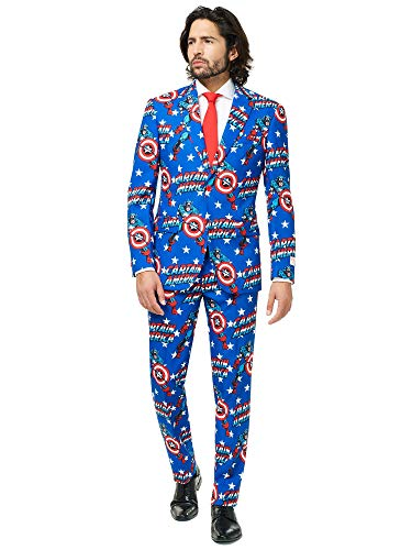 Captain Heroes America Kostüm Marvel - Opposuits Official Marvel Comics Hero Suits - Infinity War Avengers Costume Comes with Pants, Jacket and Tie, Captain America,48