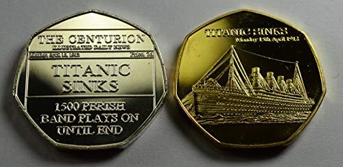 RMS Titanic Sinks 1913 Gedenkmünzen aus Silber und 24 Karat Gold zum 20. Jahrhundert The Centurion Serie Alben / 50p Münzenjagd Sammler - Gold Serie 20