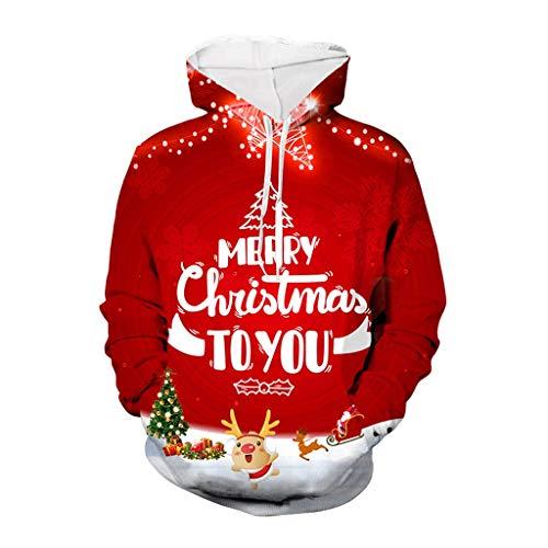 ☆Elecenty☆ Herren Hoodeis Weihnachten Hoodie Hooded Langarmpullover