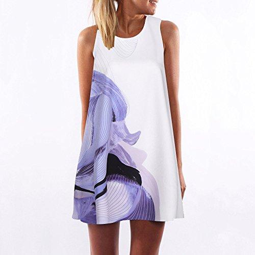 iYmitz Damen Sommer Vintage Boho Ärmelloses Sommerstrand Gedruckt Kurzes T-Shirt Minikleid Blumenkleid Trägerlose Tops(Weiß-a2,EU-46/CN-3XL)