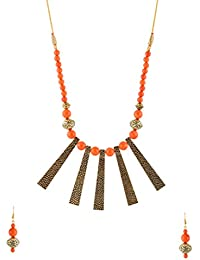 Snehatreyee Black And Orange Oxidized Gold & Beads Strand Necklace Set For Women (Snehatreyee 29)