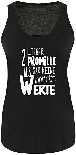 Luckja Lieber 2 Promille als gar keine inneren Werte Damen Tanktop Schwarz/Weiss