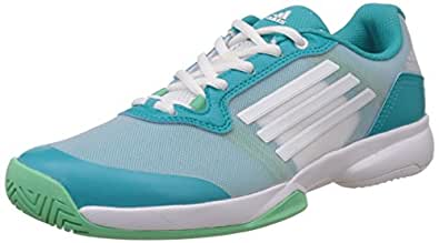 adidas Women's Sonic Court W Teal, White and Bright Green Tennis Shoes 10 UK
