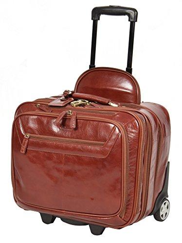 Echtes Leder Pilotenkoffer auf Räder Flug Arbeit Laptop Trolley Kabine Tasche HLG891 Cognac -