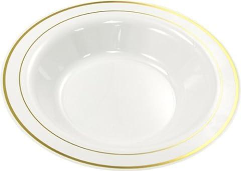 MOZAIK 20 White Gold Rim Plastic Deep Plates 23cm by