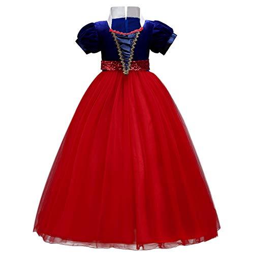 OBEEII Schneewittchen Kostüm Kinder Snow White Prinzessin Kleid Mädchen Grimms Märchen Verkleidung Karneval Faschingskostüm Halloween Cosplay Party Festkleid 12-13 Jahre ()