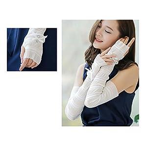 QJHP Sonnenschutz Handschuhe Dünne Frauenseiden Schutzhülle UV Sonnenschutz, Bowknot Arms Handschuhe 2 Paar