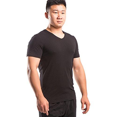 26d7101f342 Musclealive Men Hombres Camisetas Delgado Ajuste Cuello en V Manga Corta  Atlético Músculo Tops Suave Algodón