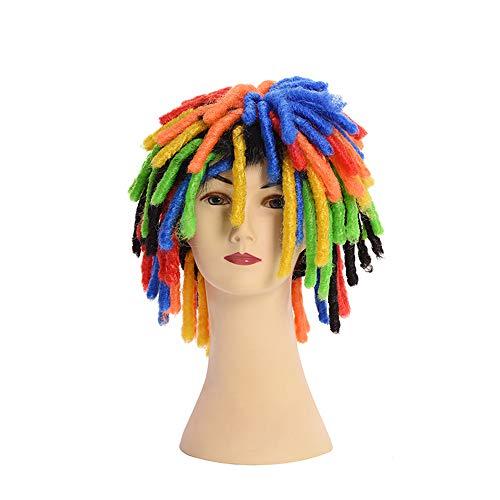 SEXHAIR gerade Perücke mit Pony Art und Weise lustige Farbe schmutziger Zopf wellige perücken Herren mit Pony für Kleid Cosplay Pop Party Kostüm Karneval (Art Pop Perücke Kostüm)