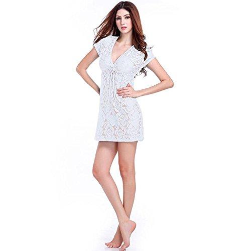 SHISHANG Frauen-Strand-Rock-Europa und den Vereinigten Staaten mit V-Ausschnitt lose lose hohlen Rock Badeanzug Bluse Meer Spitze Bikini White