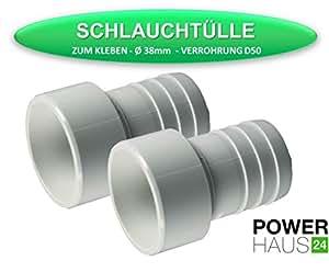 POWERHAUS24® - Schlauchtülle zum Kleben - 2 Stück