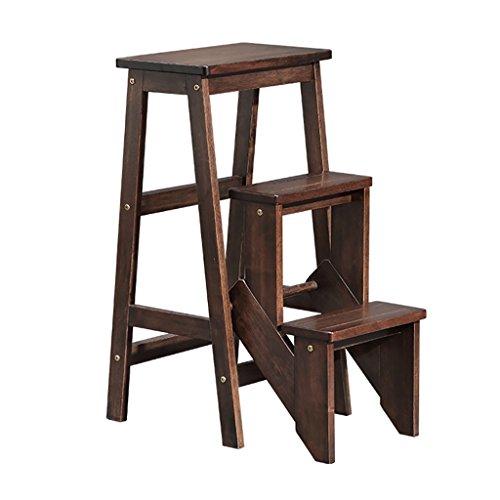 PENGFEI Pliable Stool Ladder Multifonction Usage Double Toutes Les Bois Massif Brun, 39 * 58.5 * 77 CM