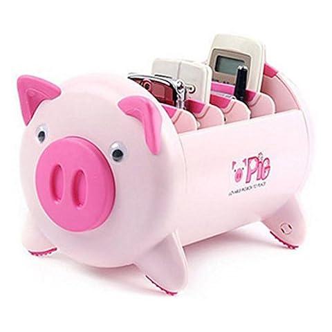 Creative Pigs Plastic Bureau Office Stationery Pencil Holder Makeup Pen Holder Cell Phone Remote Control Storage Box Organiseur by sunsang rose bonbon