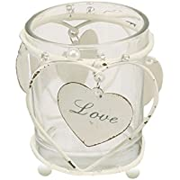Shabby Chic Candle Holder with Hanging Love Heart