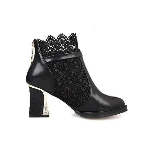 AgooLar Damen Mittler Absatz Blend-Materialien Niedrig-Spitze Stiefel Schwarz